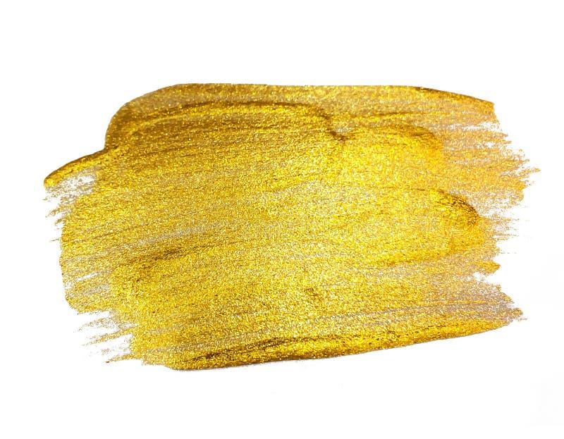 Pintura Art Isolated Textured de brilho do ouro no branco foto de stock royalty free