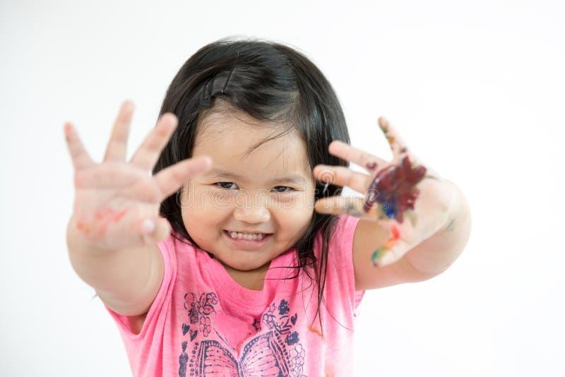 Pintura asiática del niño foto de archivo