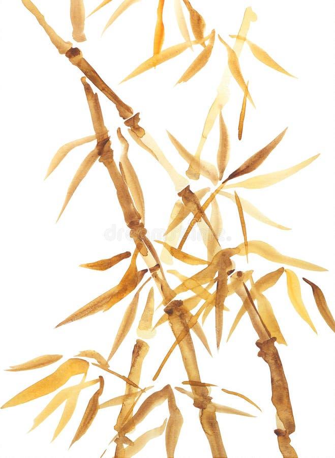 Pintura asiática do estilo da aquarela de bambu ilustração royalty free