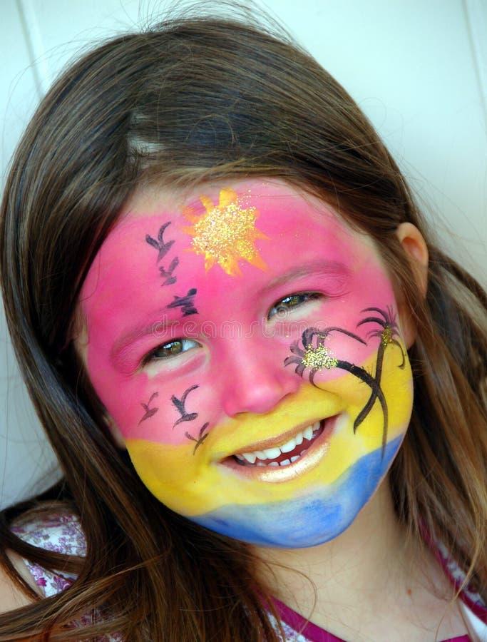 Pintura asoleada de la cara foto de archivo
