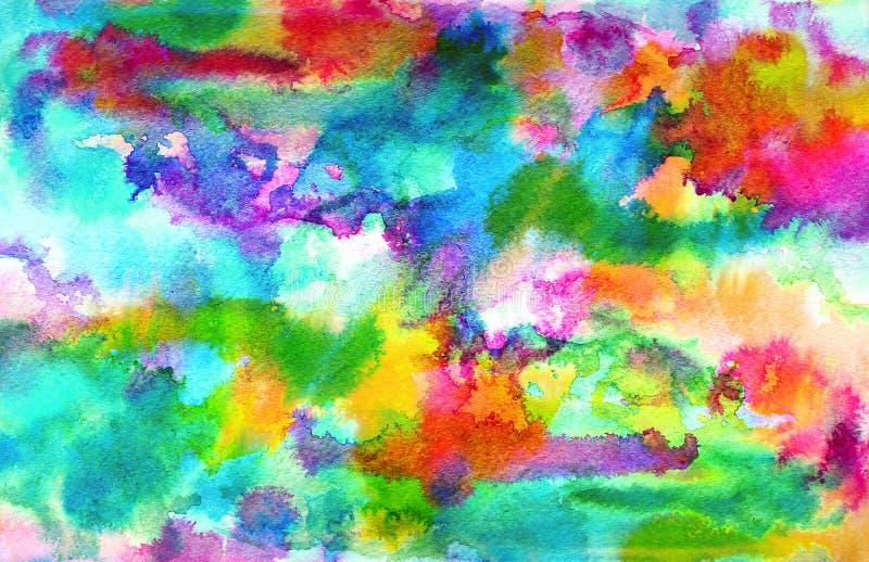 Pintura azul abstrata da tinta do arco-íris na textura do papel do grunge Fundo pintado à mão da aquarela lavagem Ilustração ilustração stock