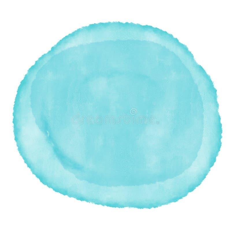 Pintura azul colorida de la mano del fondo del arte de la acuarela del extracto en el fondo blanco, círculo de los colores de agu fotografía de archivo