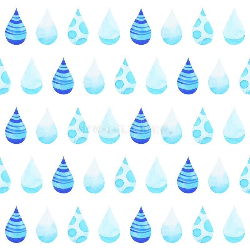 Pintura azul da aquarela do projeto da ilustração do teste padrão da estação das chuvas da gota da chuva ilustração do vetor