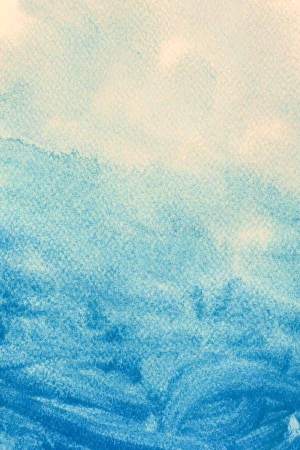 Pintura azul da aquarela na lona Fundo da arte abstrata ilustração stock