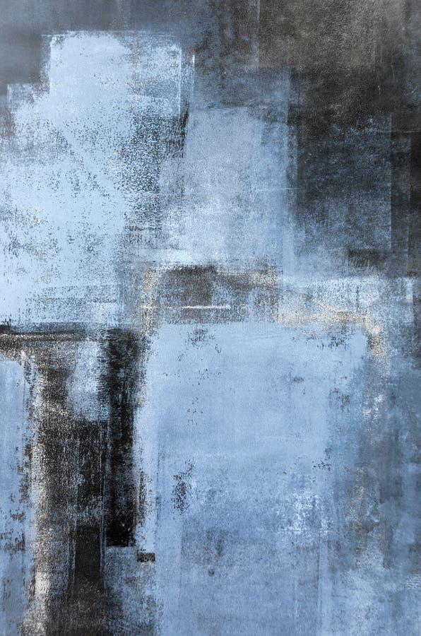 Pintura azul da arte abstracta ilustração royalty free