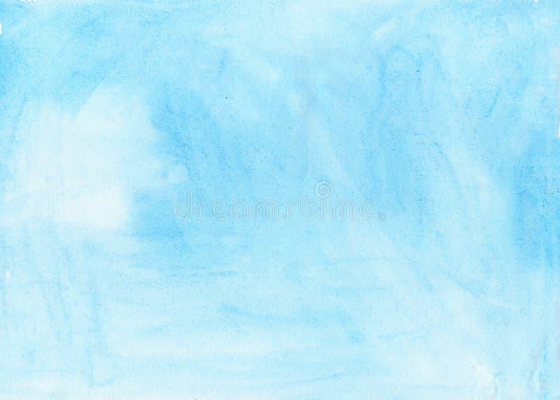 Pintura azul da mão do respingo da aquarela do aquarel do fundo abstrato da tinta da escova da textura no fundo branco imagem de stock