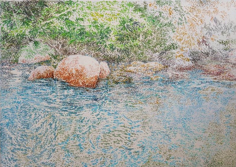 Pintura azul de la textura del primer del aceite de la reflexión del agua del lago libre illustration