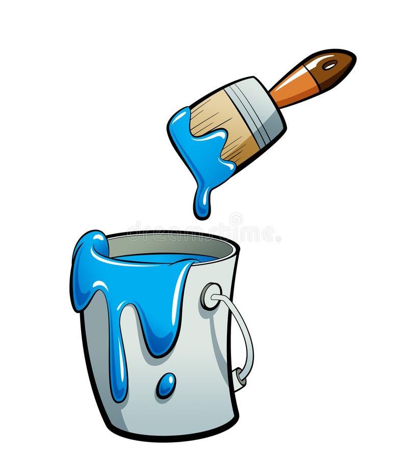 Pintura azul del color de la historieta en una pintura del cubo de la pintura con la pintura b stock de ilustración