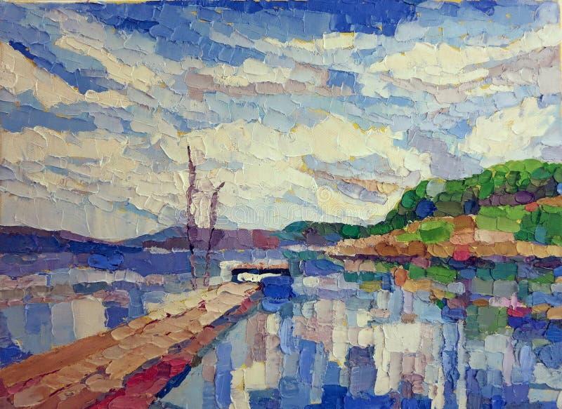 Pintura azul del lago de la reflexión del agua stock de ilustración