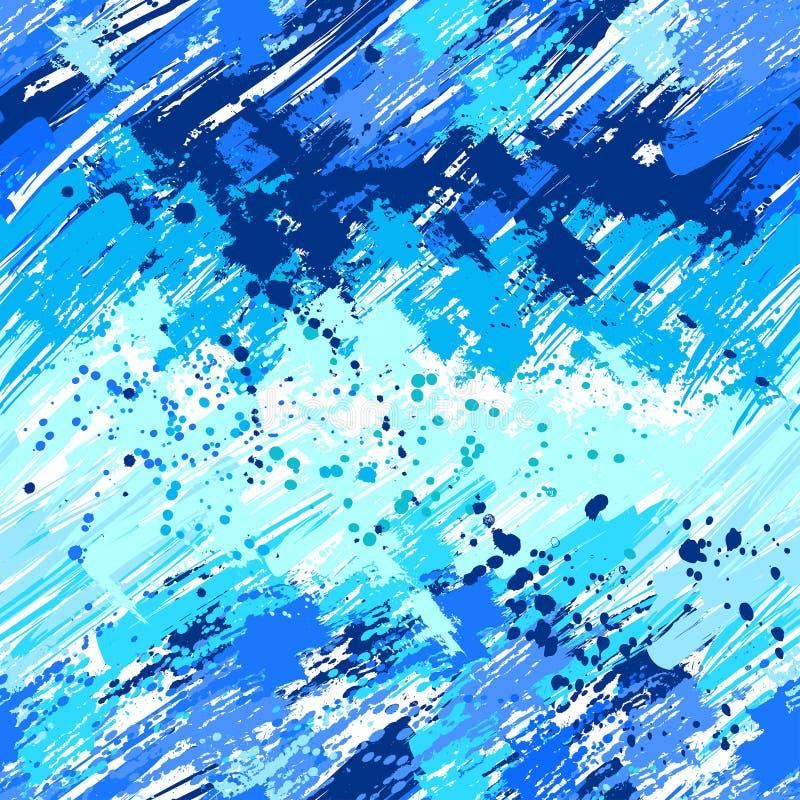 Pintura azul pintada sem emenda ilustração do vetor