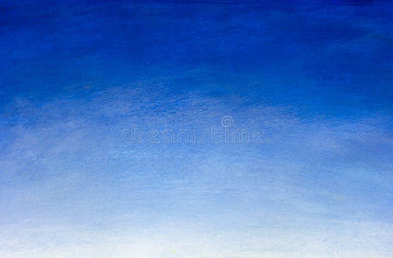 Pintura azul tirada mão da aquarela do inclinação Fundo natural de céu azul ilustração royalty free