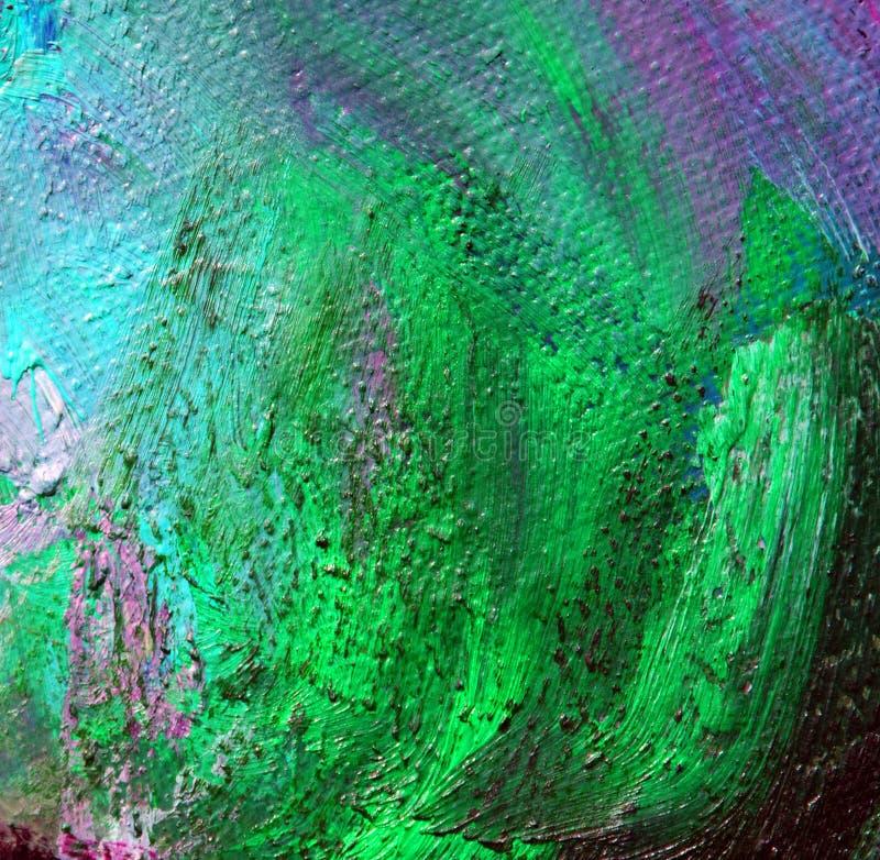Pintura azul verde abstrata pelo óleo na lona, ilustração fotos de stock royalty free