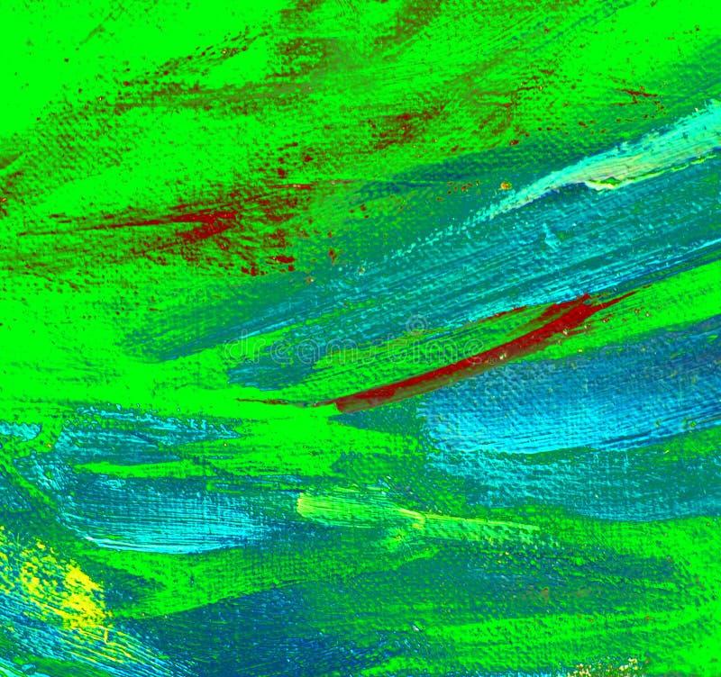 Pintura azul verde abstrata pelo óleo na lona, ilustração imagens de stock royalty free