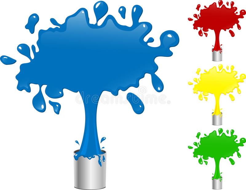 Pintura azul, vermelha, amarela e verde ilustração royalty free