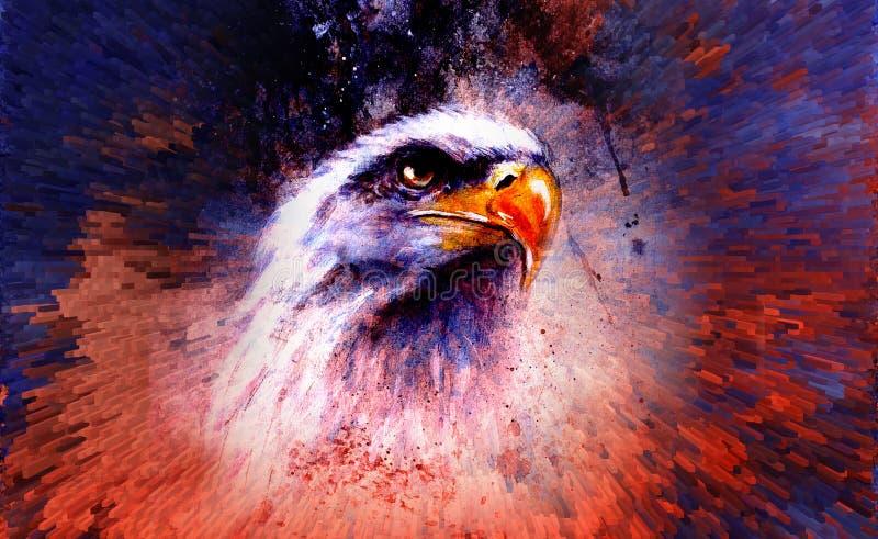 Pintura bonita da águia em um fundo abstrato, cor com ilustração stock
