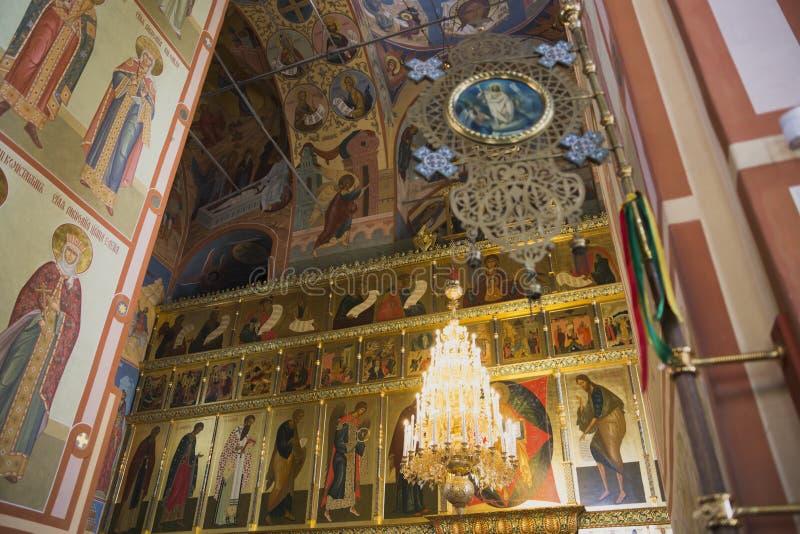 Pintura bonita da fé da igreja nas paredes imagem de stock