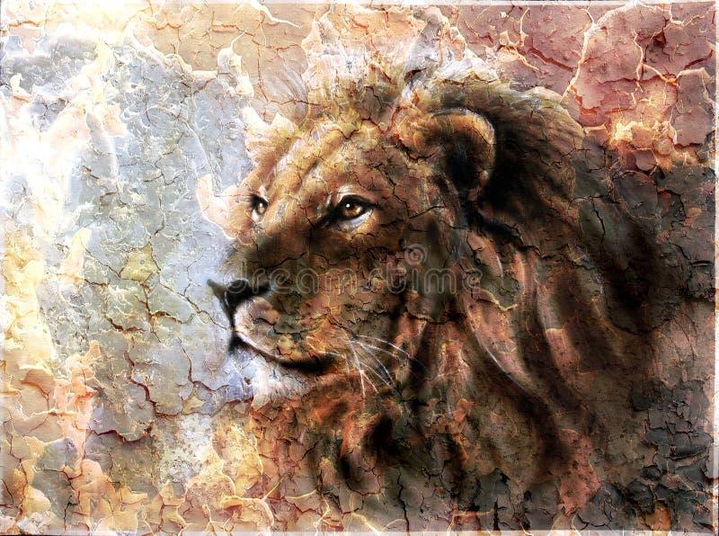 Pintura bonita de uma cabeça do leão com a imagens de stock