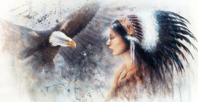 Pintura bonita do aerógrafo de uma mulher indiana nova que veste um g ilustração stock