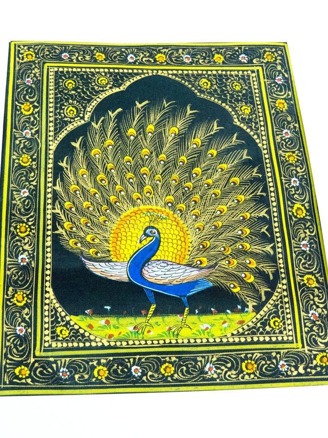 Pintura bonita do pássaro do pavão na tela ilustração stock