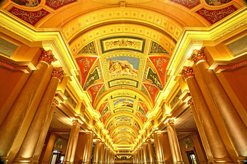 Pintura bonita no teto no hotel Venetian, Macau fotografia de stock