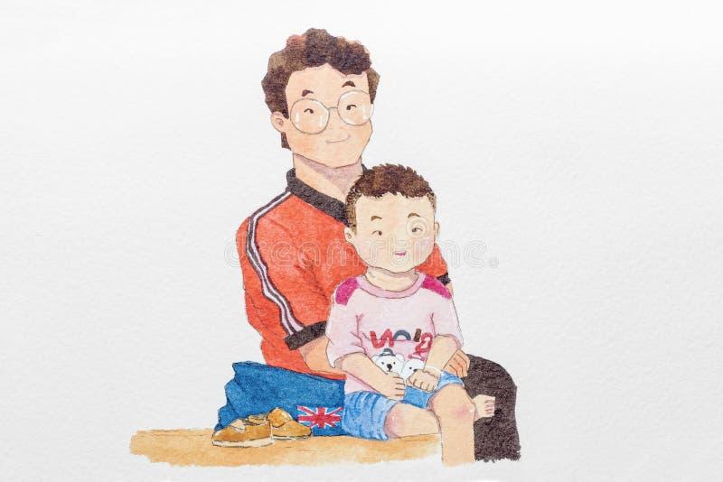 Pintura bonito dos desenhos animados do retrato feliz da família ilustração royalty free