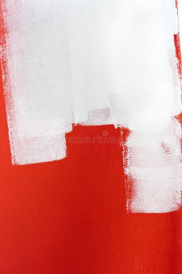 Pintura branca sobre a parede vermelha ilustração stock