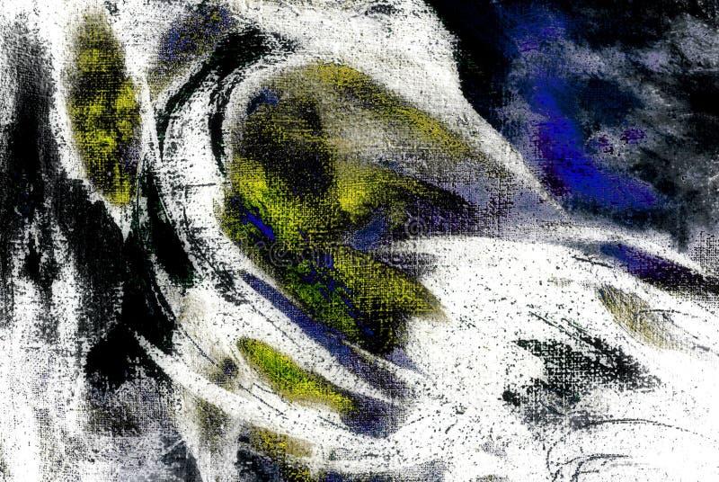 Pintura caótica abstracta por el aceite en la lona, ejemplo, backg stock de ilustración