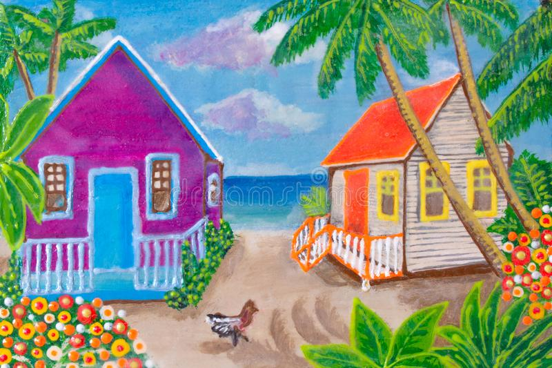Pintura, casas en la playa Agricultura Colores brillantes imagen de archivo libre de regalías
