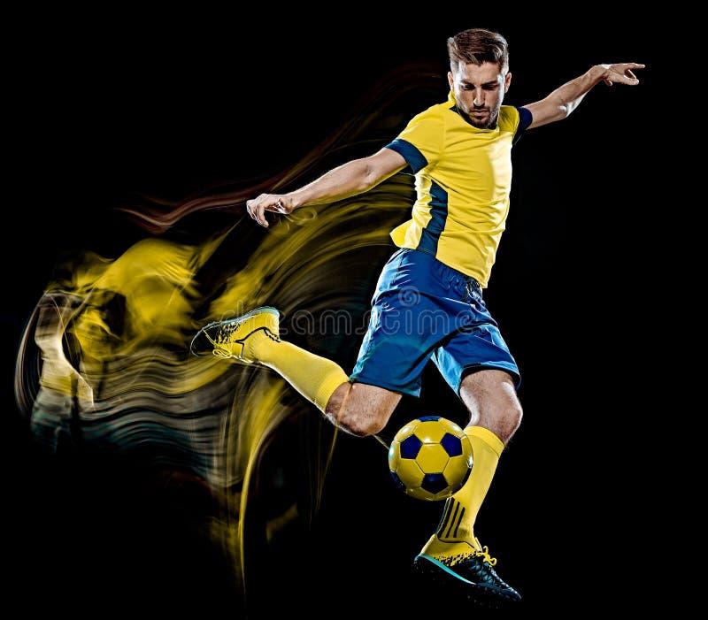 Pintura caucasiano da luz do fundo do preto do homem do jogador de futebol fotografia de stock royalty free