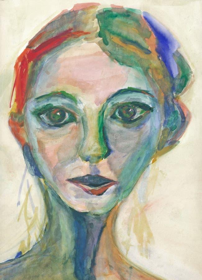 Pintura - chica joven 2 stock de ilustración