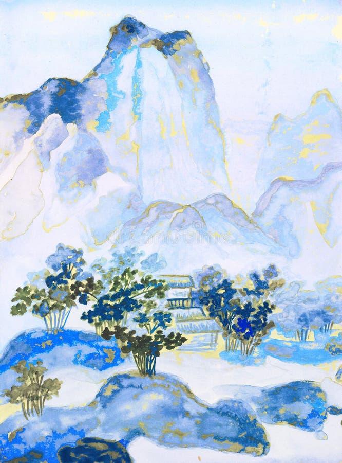 Pintura china, colinas libre illustration