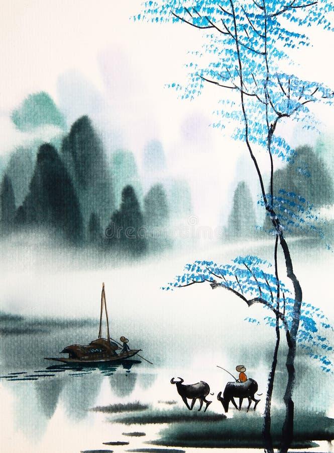 Pintura china de la acuarela del paisaje libre illustration