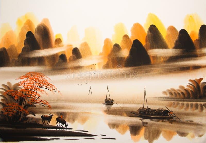 Pintura china de la acuarela del paisaje stock de ilustración