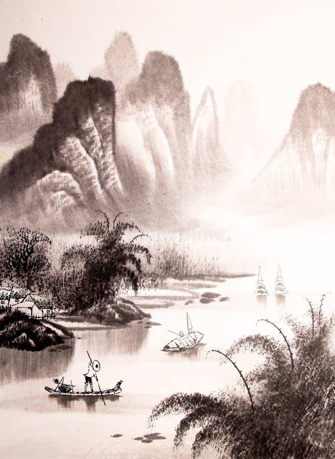 Pintura china de la acuarela del paisaje ilustración del vector