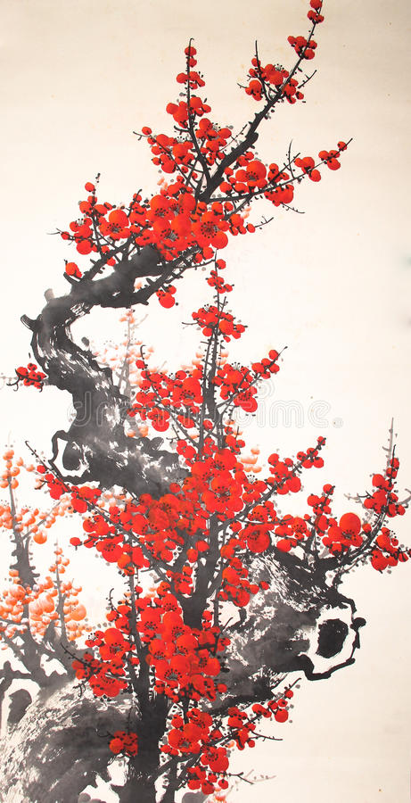 Pintura china de la cereza de la acuarela libre illustration