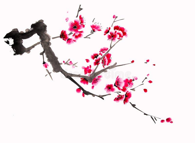 Pintura china de la cereza de la acuarela stock de ilustración