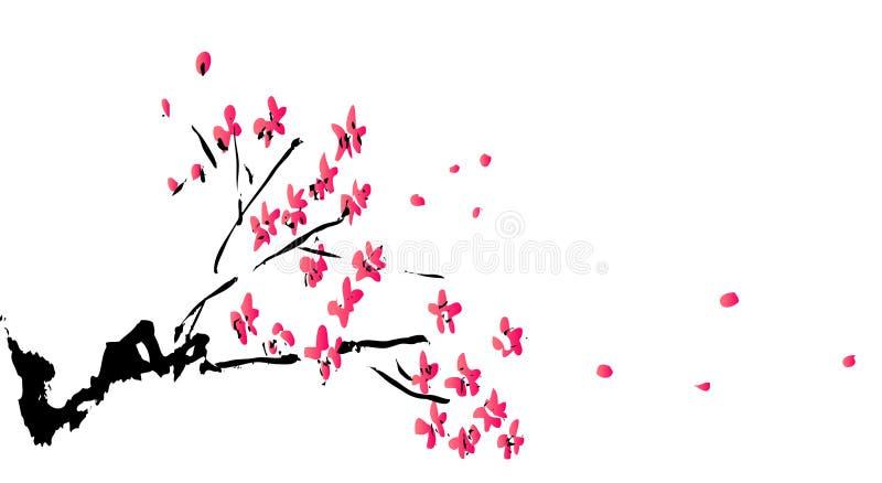 Pintura china de la flor del ciruelo stock de ilustración