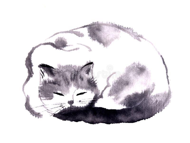 Pintura china de la mano de la tinta del gato libre illustration