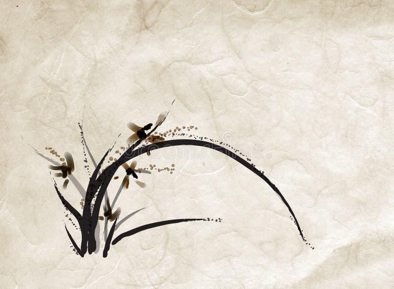 Pintura china de la orquídea stock de ilustración