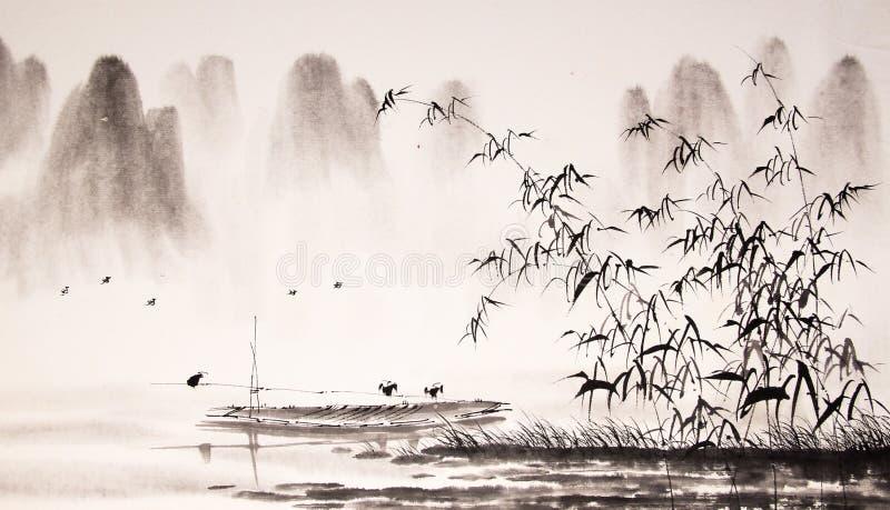 Pintura china de la tinta del paisaje ilustración del vector