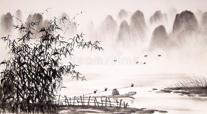 Pintura china de la tinta del paisaje libre illustration