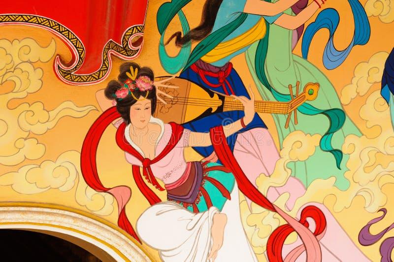 Pintura china de la tradición en el templo chino imagenes de archivo