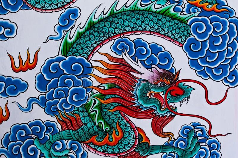 Pintura china del dragón, templo chino Tailandia ilustración del vector