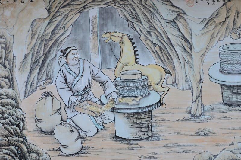 Pintura china del granjero chino antiguo foto de archivo
