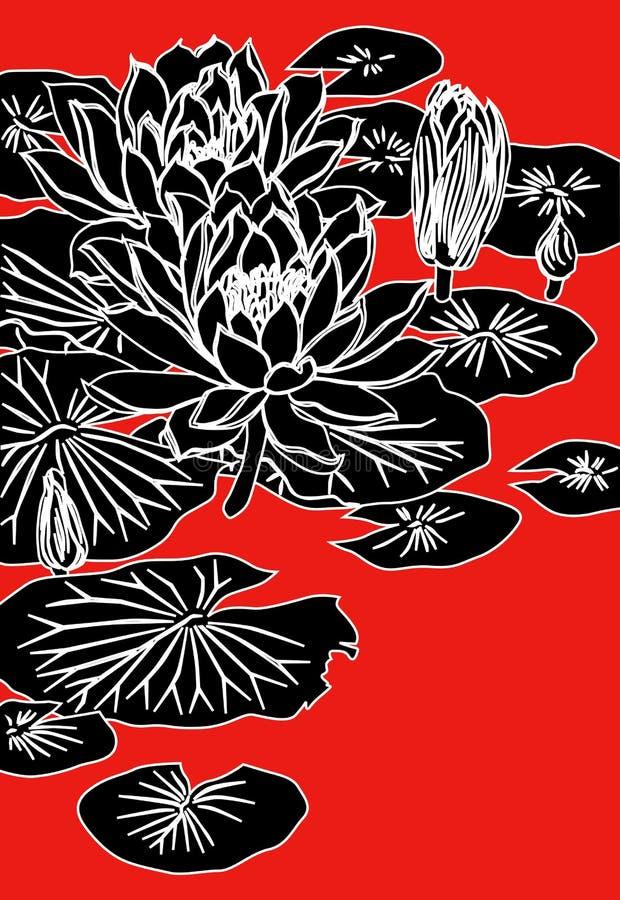 Pintura china del loto libre illustration