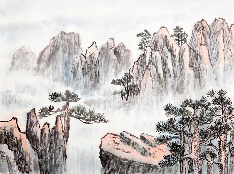 Pintura china tradicional, paisaje, árboles imagenes de archivo