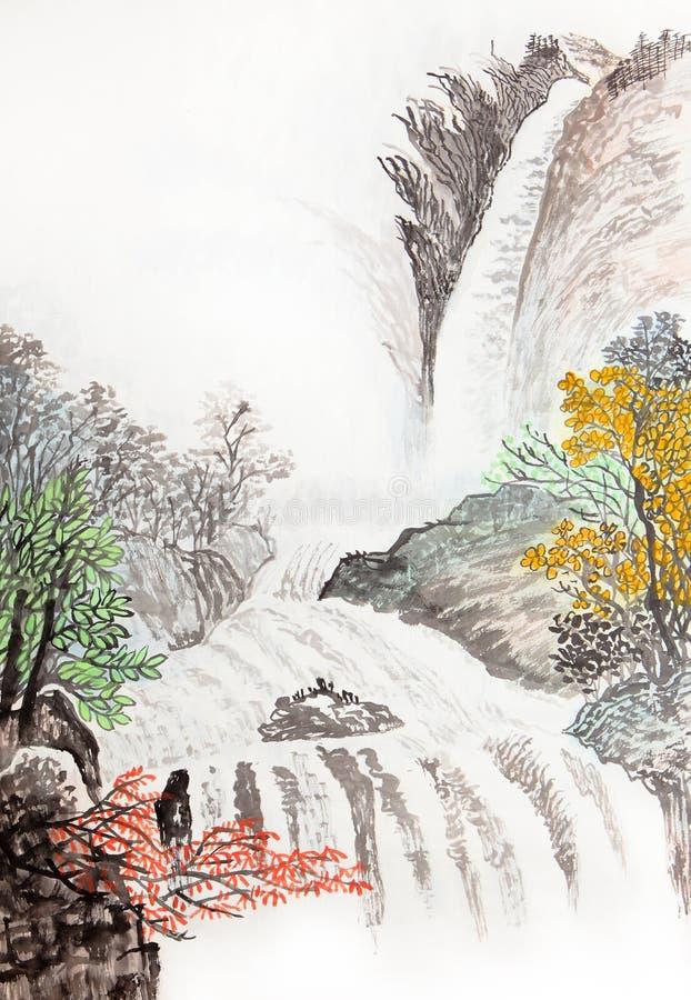 Pintura china tradicional, paisaje, fotografía de archivo libre de regalías