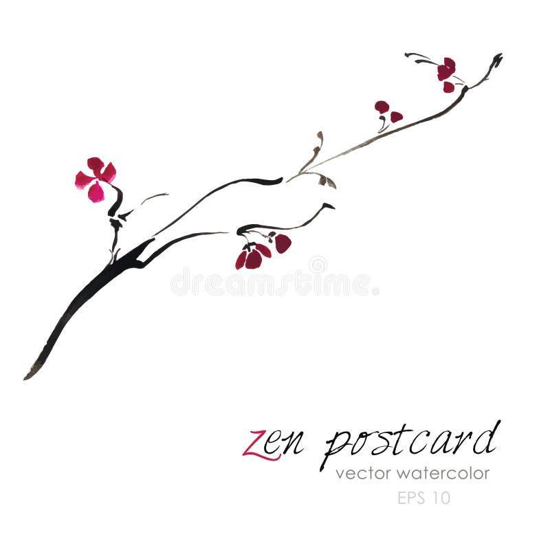 Pintura china - zen-como el ejemplo hecho a mano natural de Sakura de la acuarela del vector ilustración del vector