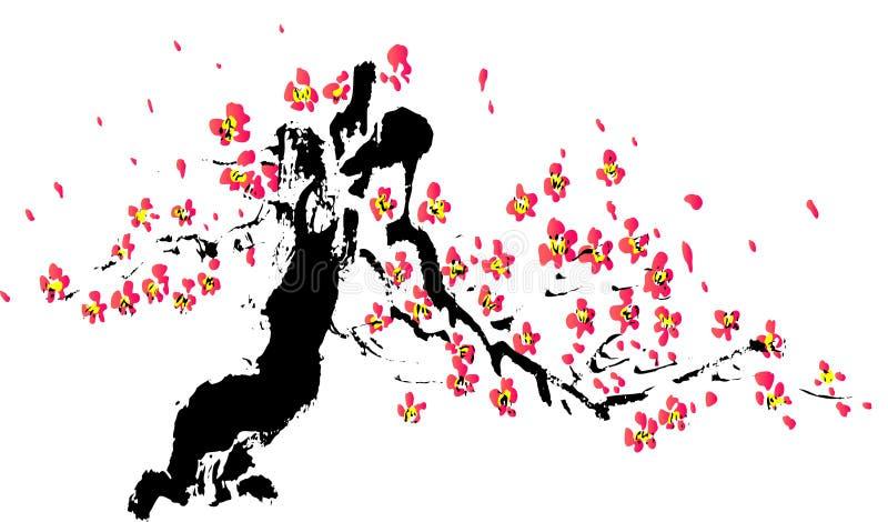Pintura chinesa da flor ilustração do vetor