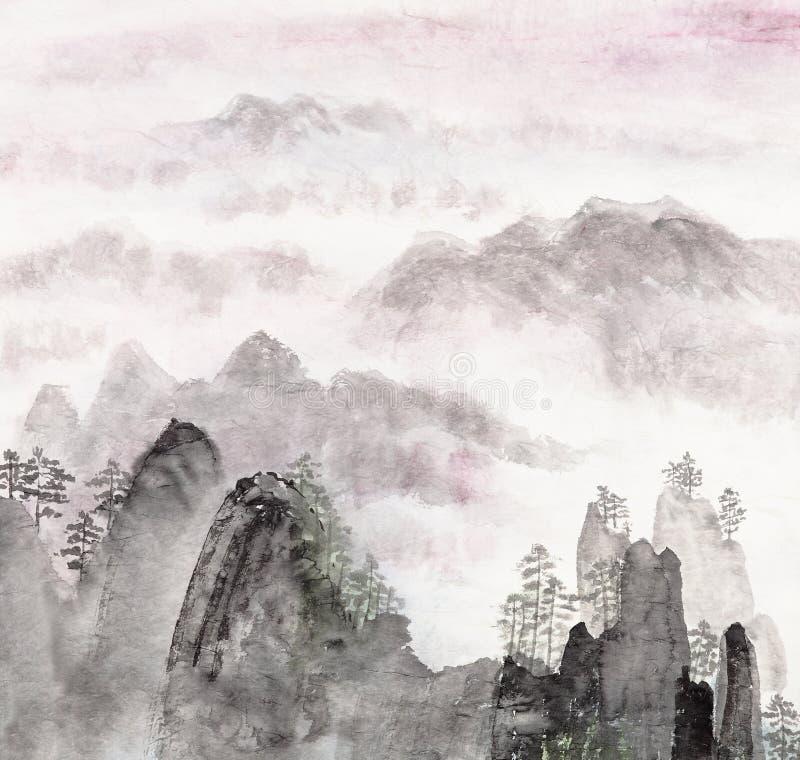 Pintura chinesa da paisagem da montanha alta fotos de stock